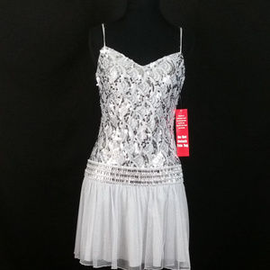 Dresses & Skirts - Silver Cocktail Dress with sequins